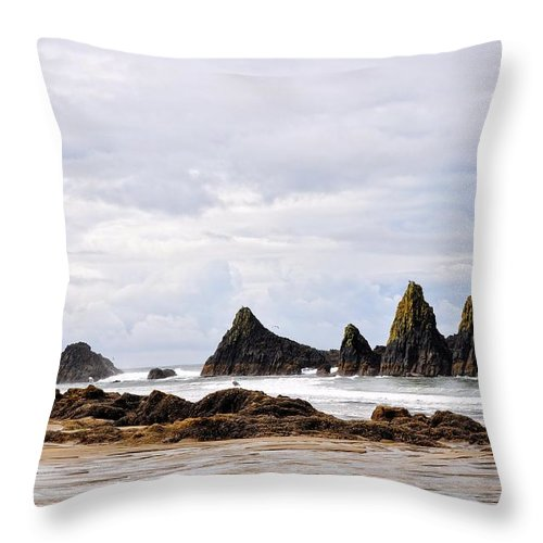 Seal Rock Throw Pillow featuring the photograph The Perfect Light by Image Takers Photography LLC - Laura Morgan