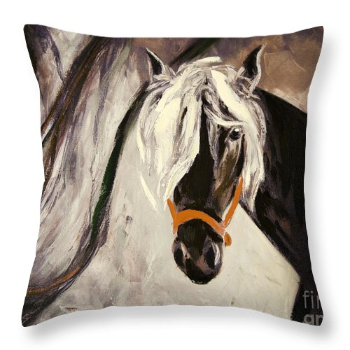 Horses Throw Pillow featuring the painting The Performer by Gina De Gorna