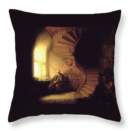1632 Throw Pillow featuring the painting The Philosopher In Meditation by Rembrandt van Rijn