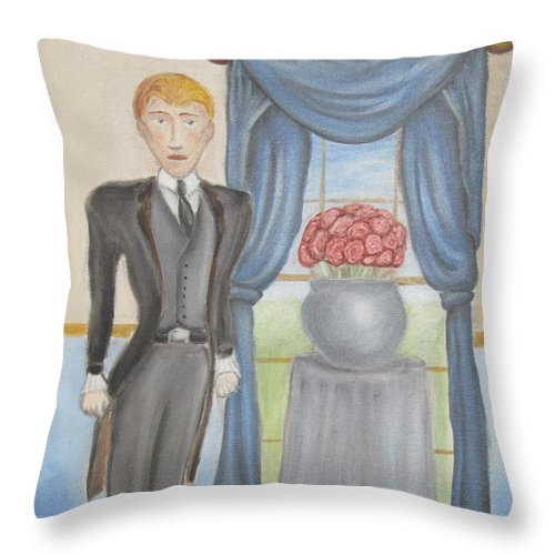Wilde Throw Pillow featuring the painting The Picture Of Dorian Gray - Sin's False Face by Jeffrey Oleniacz
