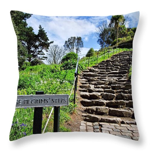 St Michaels Mount Throw Pillow featuring the photograph The Pilgrims' Steps by Susie Peek