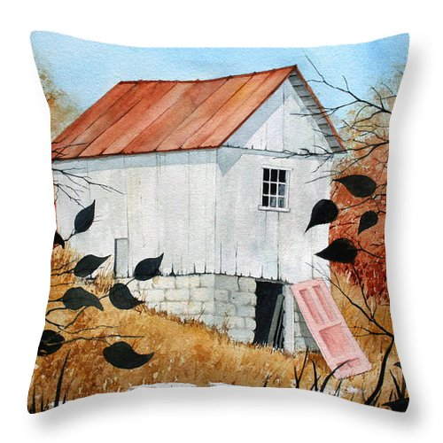 Barn Throw Pillow featuring the painting The Pink Door by Jim Gerkin