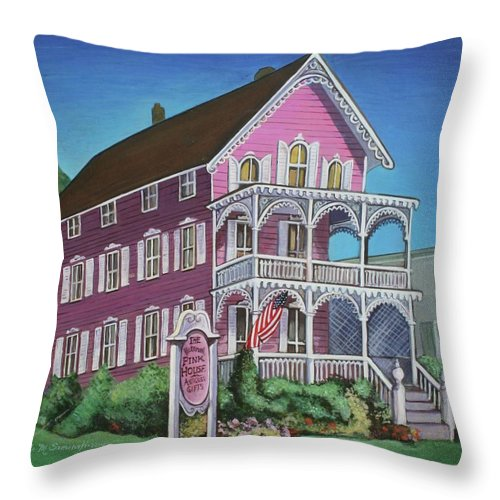 Cape May Throw Pillow featuring the painting The Pink House In Cape May by Melinda Saminski