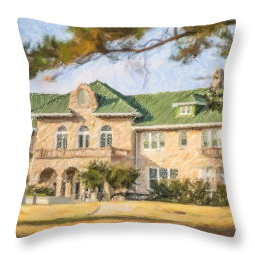 The Pink Palace Throw Pillow featuring the digital art The Pink Palace Museum Memphis Tn Usa by Liz Leyden