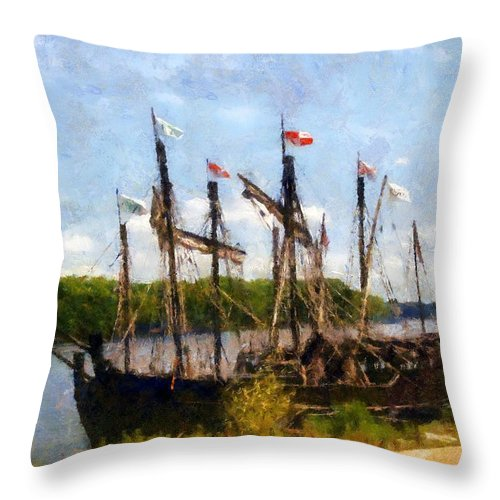 Ship Throw Pillow featuring the painting The Pinta At Sunrise by RC DeWinter