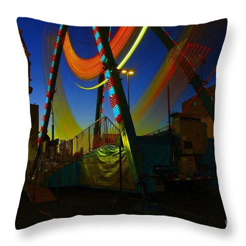 Nights Photos Throw Pillow featuring the photograph The Pirate Ship And Big Wheel by Jeff Swan