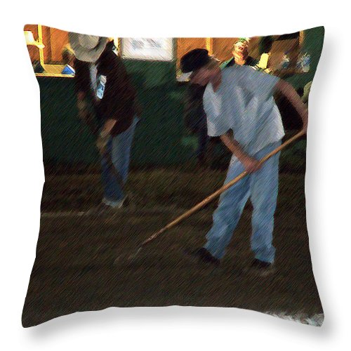 Men Throw Pillow featuring the painting The Pit Crew by RC DeWinter