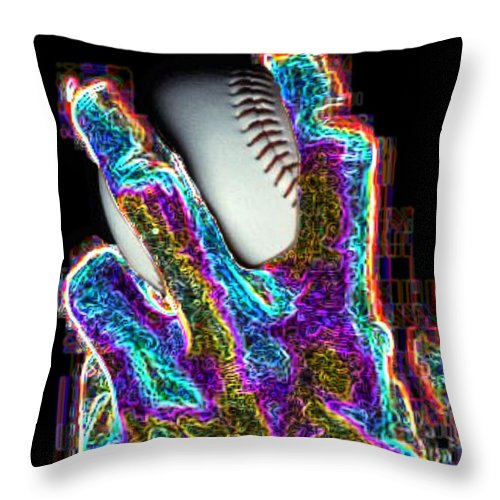 Baseball Throw Pillow featuring the photograph The Pitch by Tim Allen
