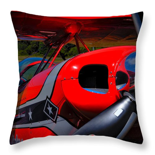 Pitts S2-b Throw Pillow featuring the photograph The Pitts S2-b Biplane - Will Allen Airshows by David Patterson