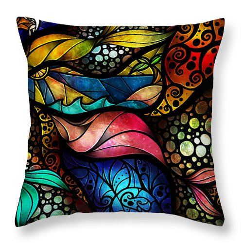 Woman Throw Pillow featuring the painting The Place Between Sleep And Awake by Mandie Manzano
