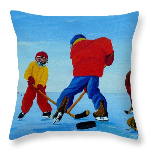 Winter Throw Pillow featuring the painting The Pond Hockey Game by Anthony Dunphy