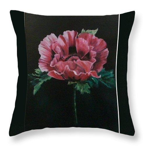 Flower Throw Pillow featuring the painting The Poppy by Wanda Dansereau