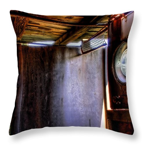Junk Castle Throw Pillow featuring the photograph The Porthole Window by David Patterson