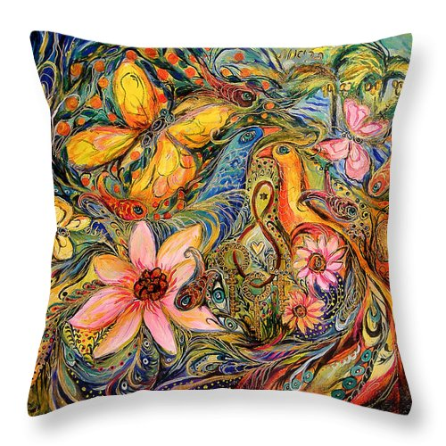 Original Throw Pillow featuring the painting The Promised Land by Elena Kotliarker