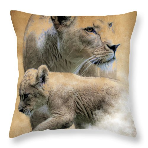 Lion Throw Pillow featuring the photograph The Protector by Steve McKinzie