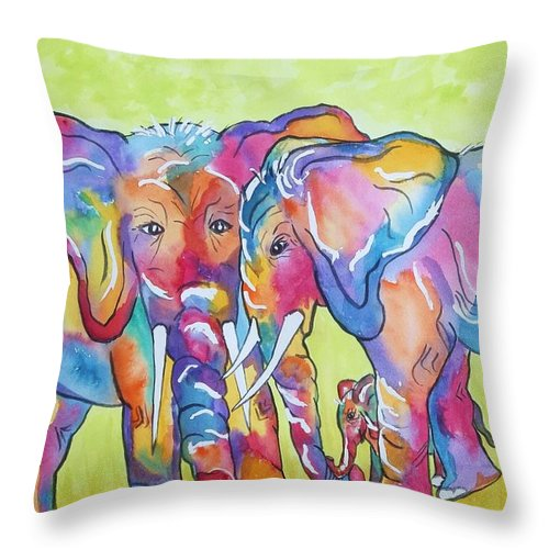 Elephants Throw Pillow featuring the painting The Protectors by Ellen Levinson