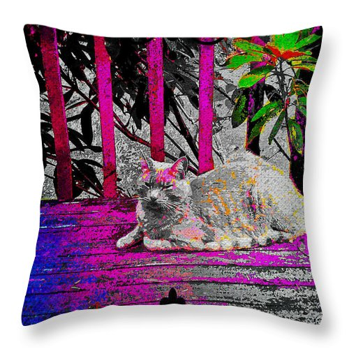 Cat Throw Pillow featuring the digital art The Psychedelic Cat by Absinthe Art By Michelle LeAnn Scott