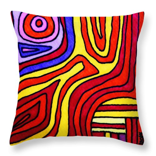 Squid Throw Pillow featuring the drawing The Psychedelic Musings Of A Squid by Mimulux patricia No