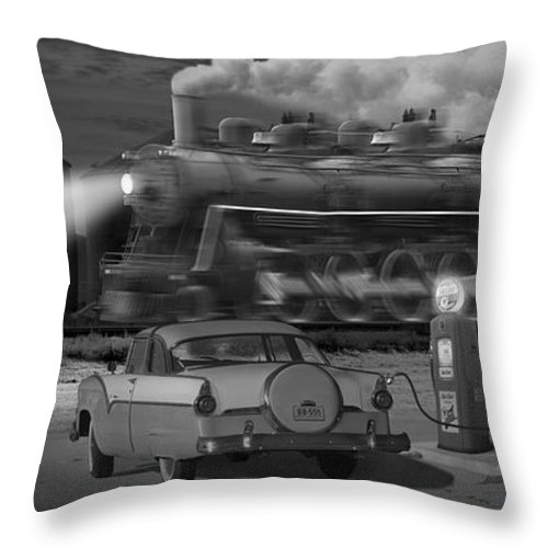 Transportation Throw Pillow featuring the photograph The Pumps - Panoramic by Mike McGlothlen