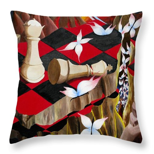 Landscape Throw Pillow featuring the painting The Queen by Richard Dotson