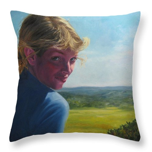 Portrait Throw Pillow featuring the painting The Question Of A Minor Summit by Connie Schaertl