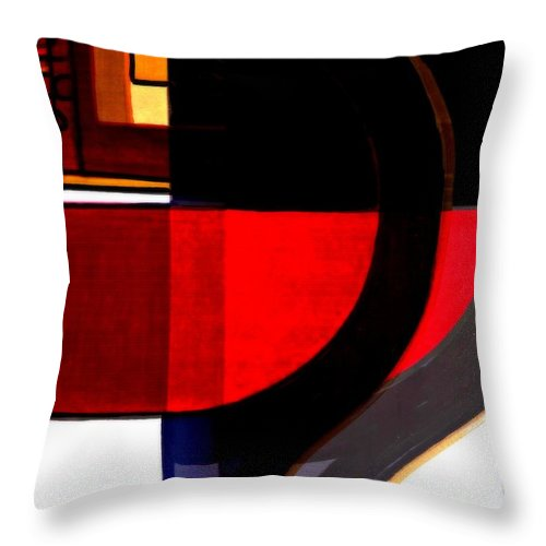 Abstract Throw Pillow featuring the mixed media The Question by Wendie Busig-Kohn