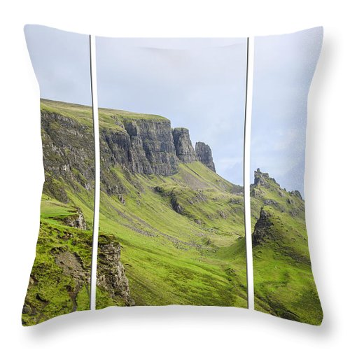 The Quiraing Throw Pillow featuring the photograph The Quiraing Triptych by Chris Thaxter
