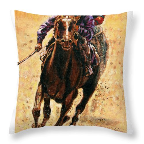 Horse Throw Pillow featuring the painting The Race by John Lautermilch