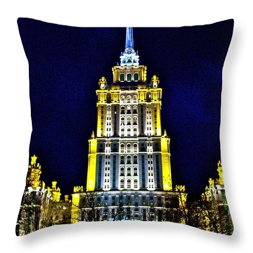 The Raddison-stalin's Wedding Cake Architecture-in Moscow Throw Pillow featuring the photograph The Raddison-stalin's Wedding Cake Architecture-in Moscow-russia by Ruth Hager