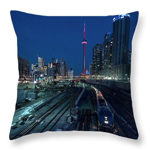 Train Throw Pillow featuring the photograph The Railway Lands Toronto by This Image