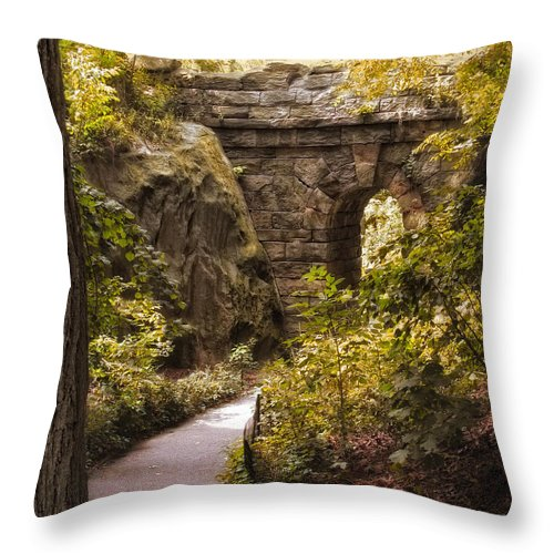 Nature Throw Pillow featuring the photograph The Ramble Stone Arch by Jessica Jenney