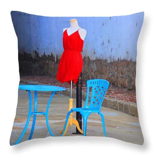 Red Throw Pillow featuring the photograph The Red Dress Lunch Special by Kris Hiemstra