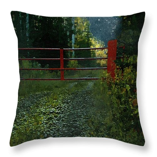 Landscape Throw Pillow featuring the painting The Red Gate by RC DeWinter