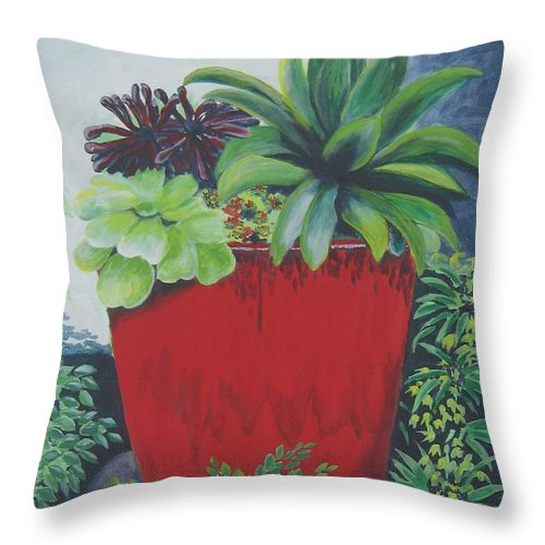 Red Pot Throw Pillow featuring the painting The Red Pot by Suzanne Theis