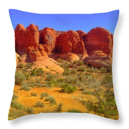 Arches National Park Throw Pillow featuring the photograph The Red Rocks by Tara Turner