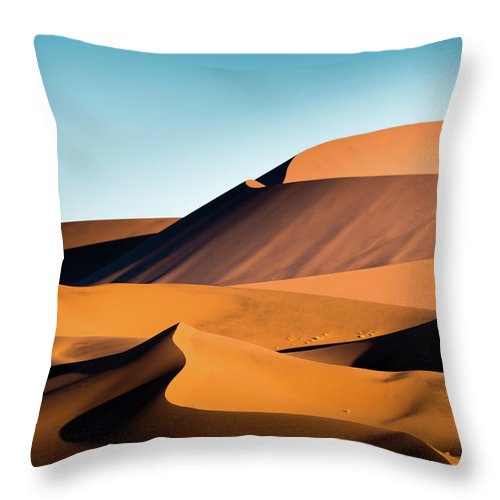 Sand Dune Throw Pillow featuring the photograph The Red Sand Dunes In Namibia by José Gieskes Fotografie