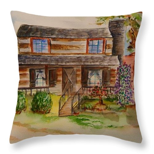 Cabin Throw Pillow featuring the painting The Red Sleigh Shoppe by Elaine Duras