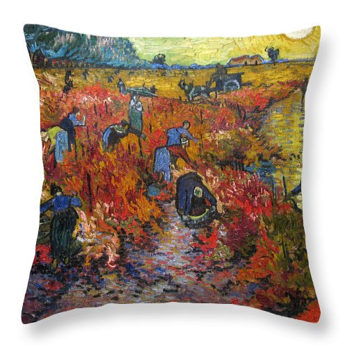 Vincent Van Gogh Throw Pillow featuring the painting The Red Vineyard by Vincent van Gogh