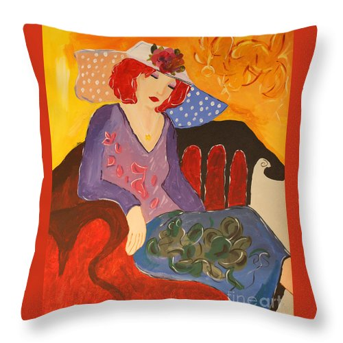 Itarkay Throw Pillow featuring the painting The Redhead by Christine Dekkers