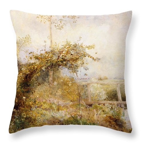 British Throw Pillow featuring the painting The Return From The Harvest Field by John William North