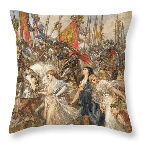 Return Throw Pillow featuring the painting The Return Of The Victors by Sir John Gilbert