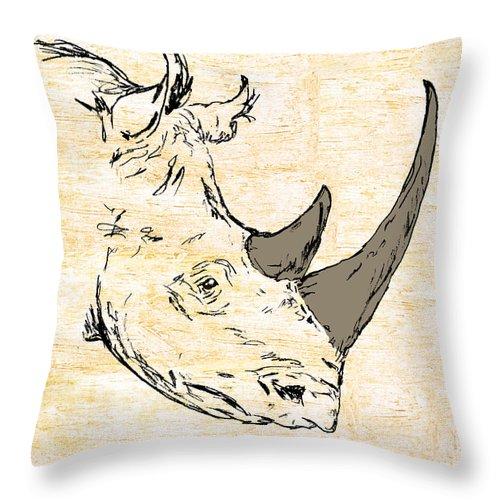 Rhino Throw Pillow featuring the painting The Rhino by William Depaula