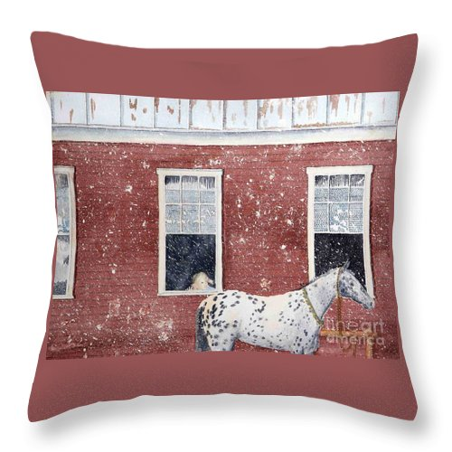 Horses Throw Pillow featuring the painting The Ride Home by LeAnne Sowa