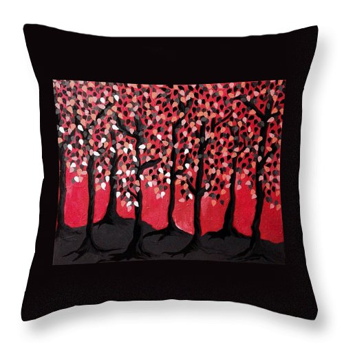 Nature Throw Pillow featuring the painting The Ridge by Sarah Jane Thompson