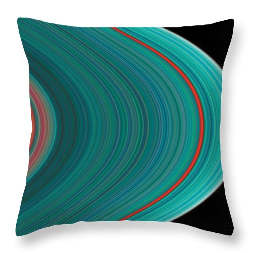 No People; Horizontal; Outdoors; Extreme Close Up; Part Of; Backgrounds; Science; Asteroid Belt; Concentric; Astronomy; Solar System; Saturn; Space; Red; Blue; Space Exploration; Cassini; Spaceship Throw Pillow featuring the photograph The Rings Of Saturn by Anonymous