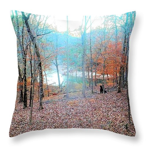 River Throw Pillow featuring the photograph The River In The Forest by James Potts