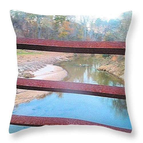 River Throw Pillow featuring the photograph The River Through The Rails by James Potts