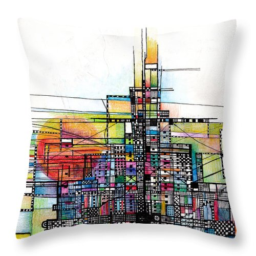 the Rock mont St Michell Abstract setting Sun Abstract christian Abstract i Am The Rock horizontal Vertical Lines Throw Pillow featuring the drawing The Rock by Andy Mercer