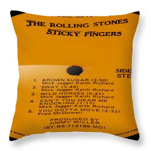 Records Throw Pillow featuring the photograph The Rolling Stones Sticky Fingers Side 1 by Marcello Cicchini