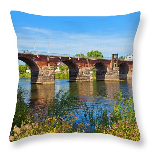 Roman Throw Pillow featuring the photograph The Roman Bridge Over Mosel River In by Werner Dieterich